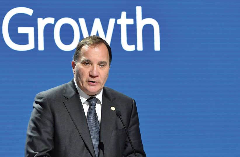 SWEDISH PRIME MINISTER Stefan Lofven speaks during a news conference at the EU Social Summit for Fair Jobs and Growth in Gothenburg last month. (photo credit: REUTERS)