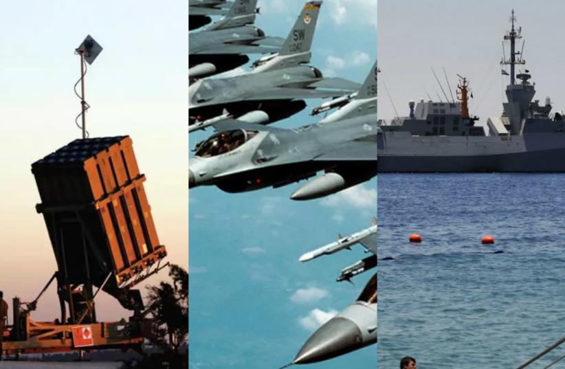 Iron dome, F-16s and Israeli Navy fleet (photo credit: REUTERS)