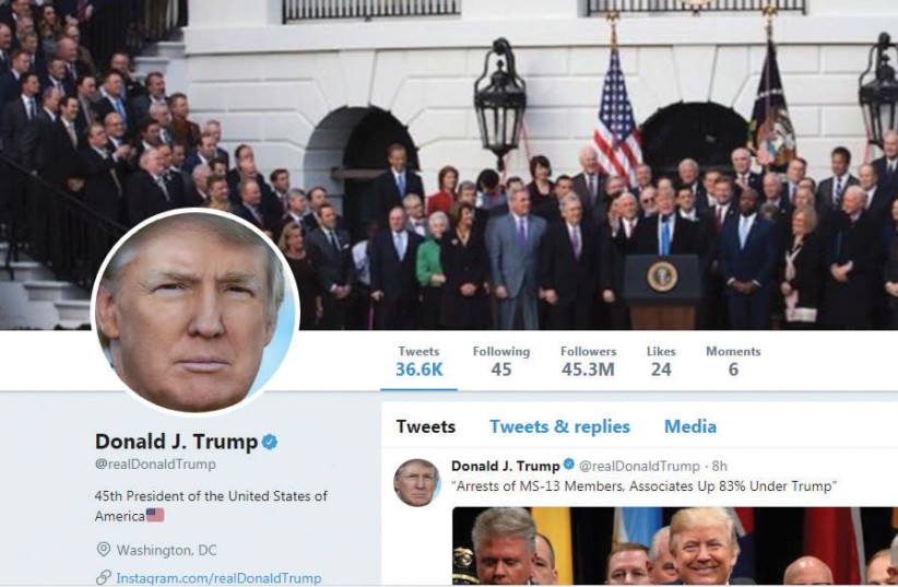 A SCREENSHOT of US President Donald Trump's Twitter profile. (photo credit: Courtesy)