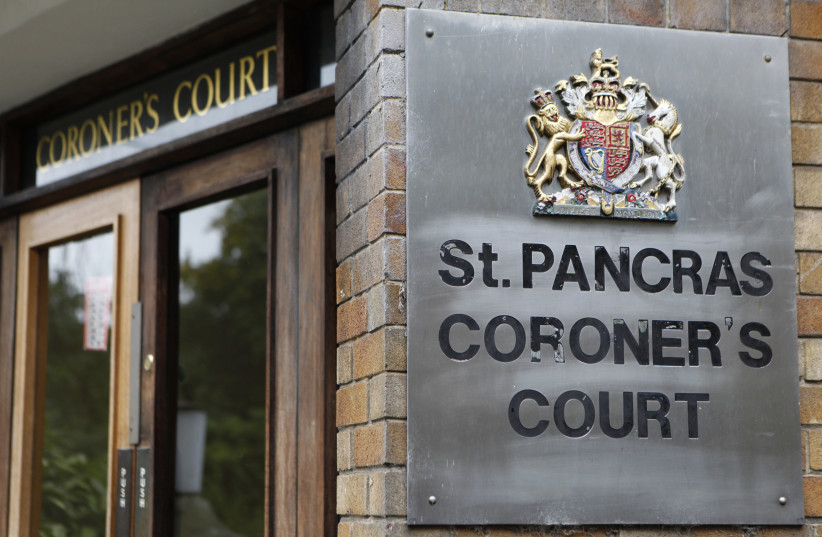 The nameplate is seen outside St Pancras Coroners Court (photo credit: REUTERS)