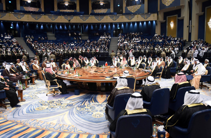 Leaders and representatives of Gulf Cooperation Council (GCC) attend a meeting during their annual summit in Kuwait City, Kuwait, December 5, 2017.  (photo credit: REUTERS)