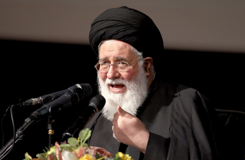 Iranian cleric Ahmad Alamolhoda delivers speech during a conservatives campaign gathering in Tehran February 24, 2016. (photo credit: REUTERS/RAHEB HOMAVANDI/TIMA)