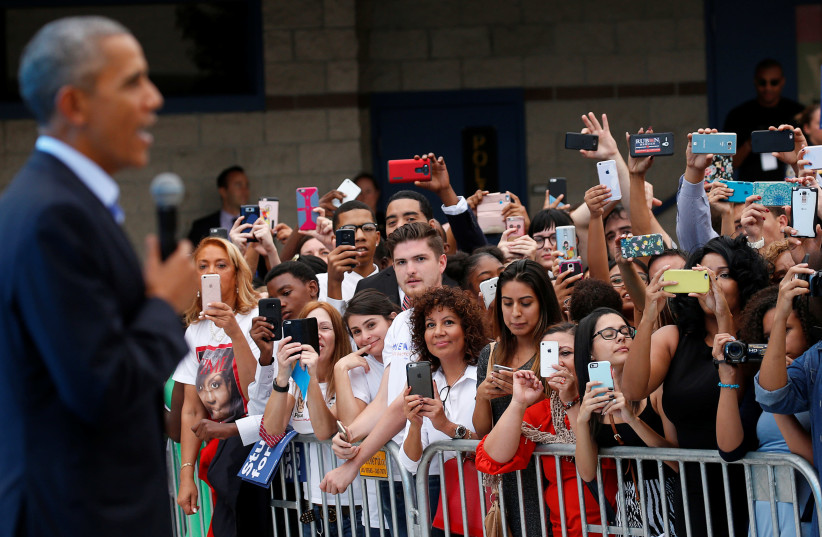 US President Barack Obama speaks to an overflowing crowd of millennials. (photo credit: REUTERS)