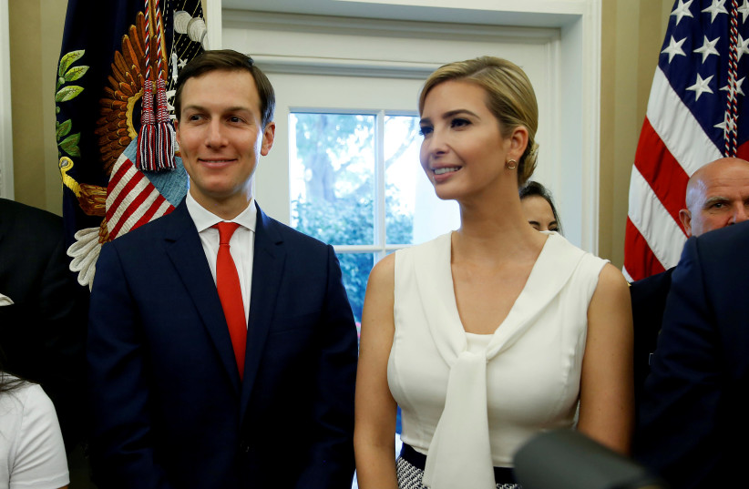 Jared Kushner and Ivanka Trump at the White House in 2017. (photo credit: JOSHUA ROBERTS / REUTERS)