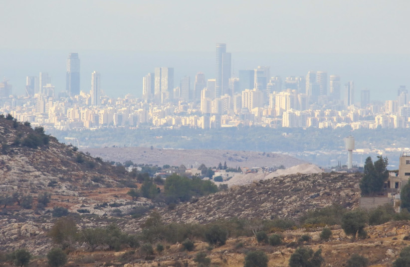 THE SKYLINE of Tel Aviv as seen from Dolev, southern Samaria.  (photo credit: MICHAL GILADI)
