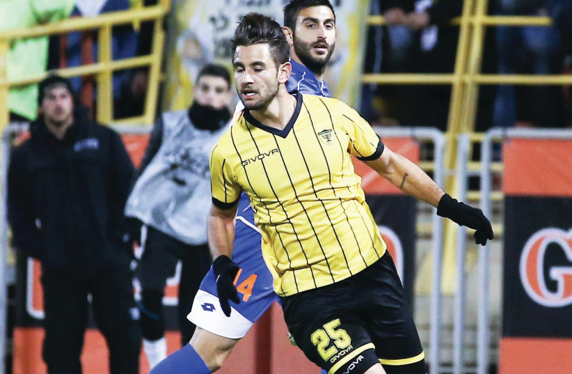 Beitar Jerusalem striker Gaetan Varenne netted both of his team's goals in a 2-1 win over Hapoel Rishon Lezion in the State Cup round-of-32. (photo credit: DANNY MARON)
