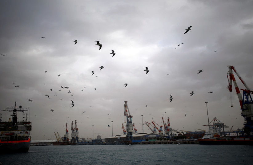 A general view shows seagulls in Ashdod port as a storm approaches Israel's shores January 4, 2018. (photo credit: REUTERS/AMIR COHEN)