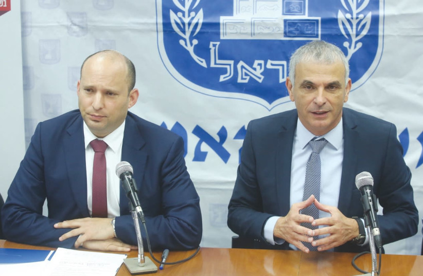 Education Minister Naftali Bennett and Finance Minister Moshe Kahlon hold a news conference in Jerusalem yesterday about the shortening of school vacations (photo credit: MARC ISRAEL SELLEM/THE JERUSALEM POST)