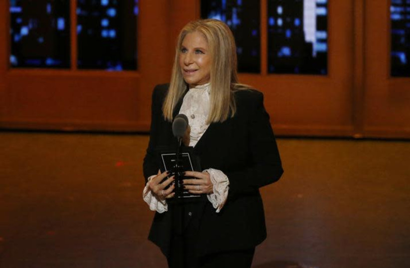 Singer Barbra Streisand speaks on stage during the American Theatre Wing's 70th annual Tony Awards in New York, U.S., June 12, 2016 (photo credit: REUTERS/LUCAS JACKSON)
