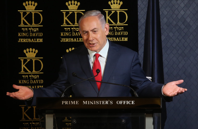Israeli Prime Minister Benjamin Netanyahu speaks to ambassadors of NATO states at the King David Hotel, Jerusalem, on January 9, 2018 (photo credit: MARC ISRAEL SELLEM)
