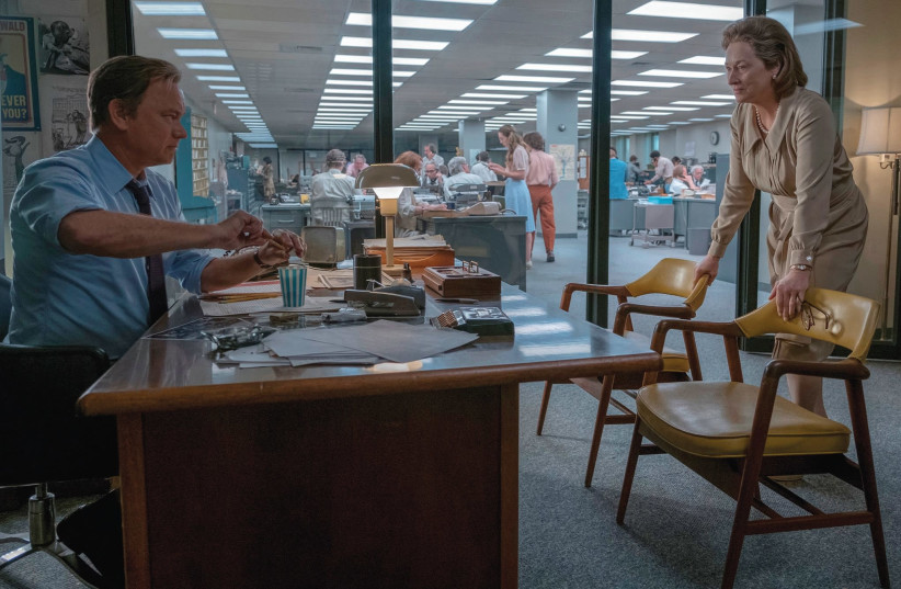 'THE POST' stars Meryl Streep as 'Washington Post' publisher Kay Graham and Tom Hanks as editor Ben Bradlee, and the triumph the movie celebrates is the 'Post' decision to publish the Pentagon Papers. (photo credit: COURTESY UNITED KING FILMS)