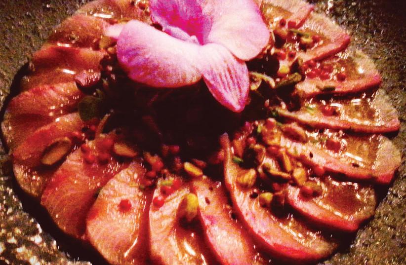 A dish at the Moon sushi bar (photo credit: SHAW RODGERS)