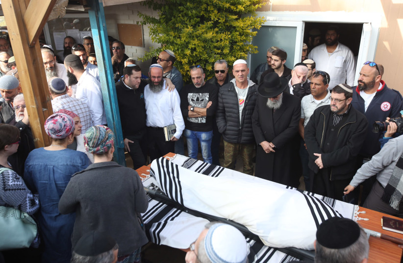 Funeral of Rabbi Raziel Shevach, murdered in West Bank terror attack shooting, January 10, 2017  (photo credit: MARC ISRAEL SELLEM)