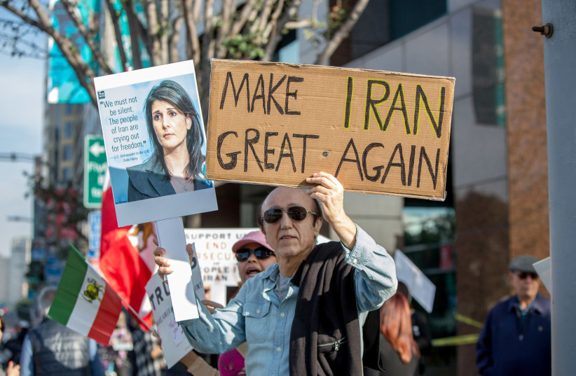 People rally in support of Iranian anti-government protests in Los Angeles, California, US. (photo credit: REUTERS)