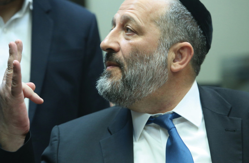 INTERIOR MINISTER Arye Deri at the Knesset (photo credit: MARC ISRAEL SELLEM/THE JERUSALEM POST)