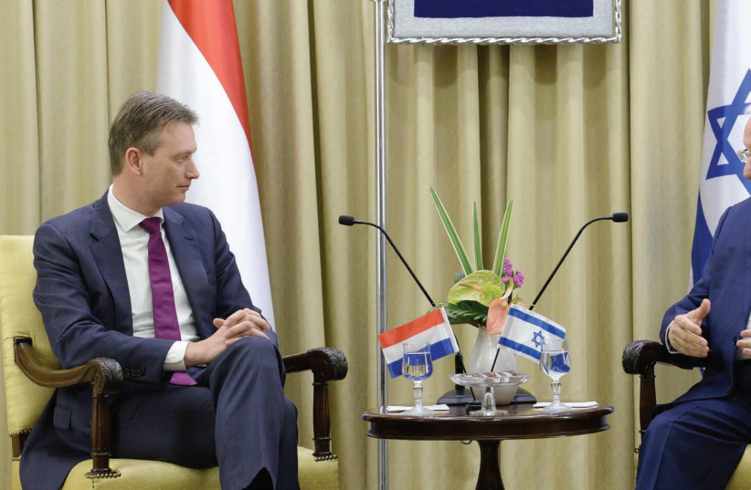 PRESIDENT REUVEN RIVLIN meets with Dutch Foreign Minister Halbe Zijlstra at the President's Residence in Jerusalem (photo credit: MARK NEYMAN / GPO)