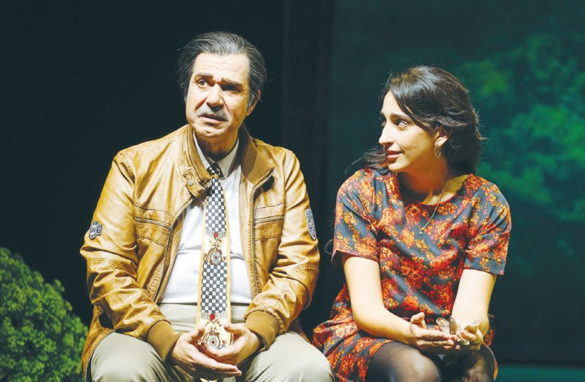 Actor Izik Cohen and actress Alama Dishi in the play 'The who and the what.' (photo credit: RADI RUBINSTEIN)