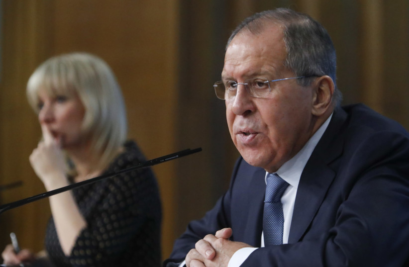 Russian Foreign Minister Lavrov attends his annual news conference in Moscow (photo credit: SERGEI KARPUKHIN/REUTERS)