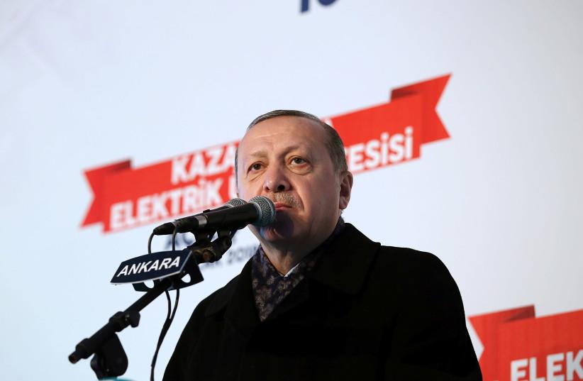 Turkish President Recep Tayyip Erdogan speaks at an event near Ankara, January 2018 (photo credit: HANDOUT/REUTERS)