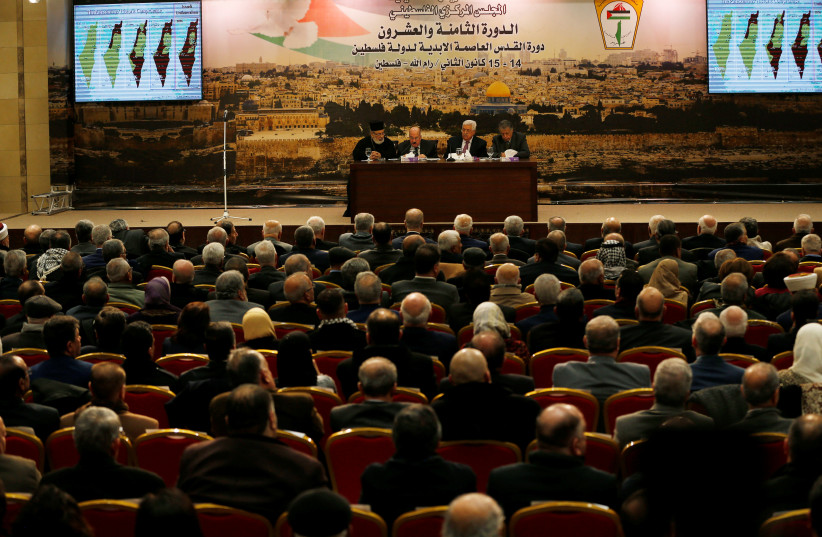 Palestinian President Mahmoud Abbas speaks during the meeting of the Palestinian Central Council in the West Bank city of Ramallah January 14, 2018.  (photo credit: REUTERS)