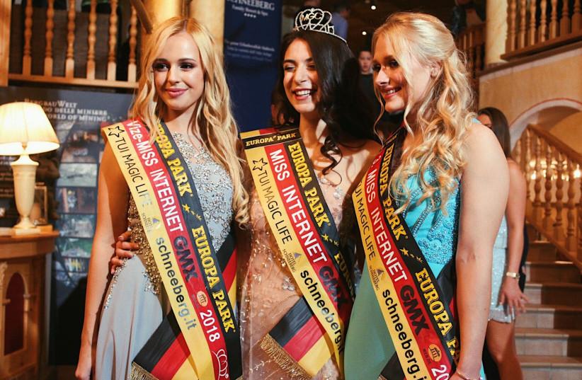 Runner up of Miss Internet Angelina Kätzel, Miss Internet Tamar Morali and 2nd runner up Jennifer Lauren Schmidt (Courtesy Tamar Morali) (photo credit: COURTESY TAMAR MORALI)