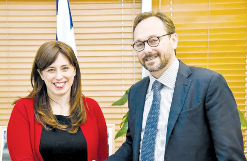 EUROPEAN UNION Ambassador to Israel Emanuele Giaufret meets yesterday with Deputy Foreign Minister Tzipi Hotovely. (Courtesy) (photo credit: Courtesy)