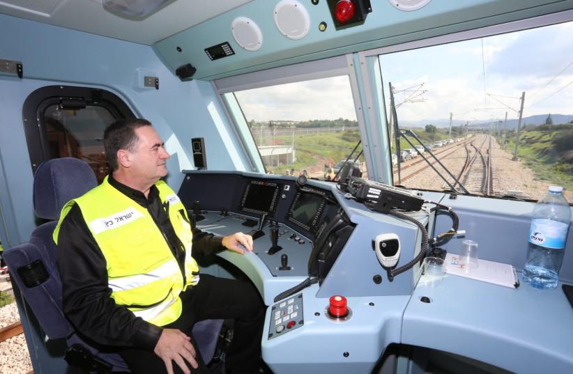 Transportation Minister Israel Katz inside the electric locomotive that hauled test train on January 15, 2018 (photo credit: TRANSPORATION MINISTRY)