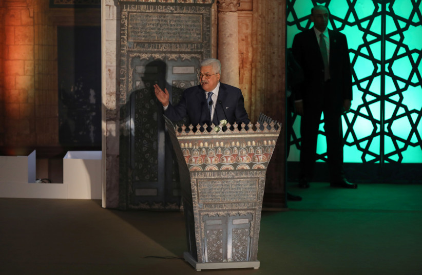 Palestinian President Mahmoud Abbas speaks during Al-Azhar's conference on Jerusalem, in Cairo, Egypt (photo credit: MOHAMED ABD EL GHANY/REUTERS)