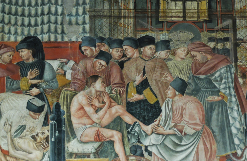 'The Hospital of Santa Maria della Scala,' fresco by Domenico di Bartolo, 1441–2 (photo credit: Wikimedia Commons)