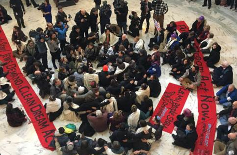 """Jewish activists protesting in DC in favor of """"dreamers."""" (photo credit: BEND THE ARC JEWISH ACTION)"""