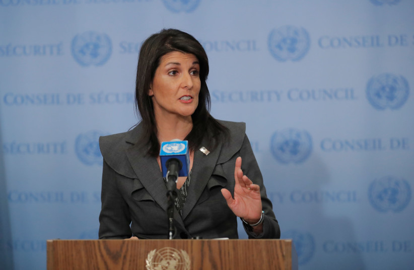 US Ambassador to the United Nations Nikki Haley speaks at UN headquarters in New York (photo credit: LUCAS JACKSON/REUTERS)