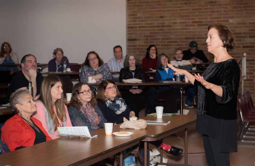 Former Yesh Atid MK Ruth Calderon lectures at Seattle's first Limmud event (photo credit: MERYL ALCABES)