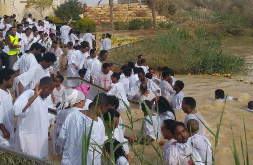 Qasr el Yahud baptism    (photo credit: POLICE SPOKESPERSON'S UNIT)