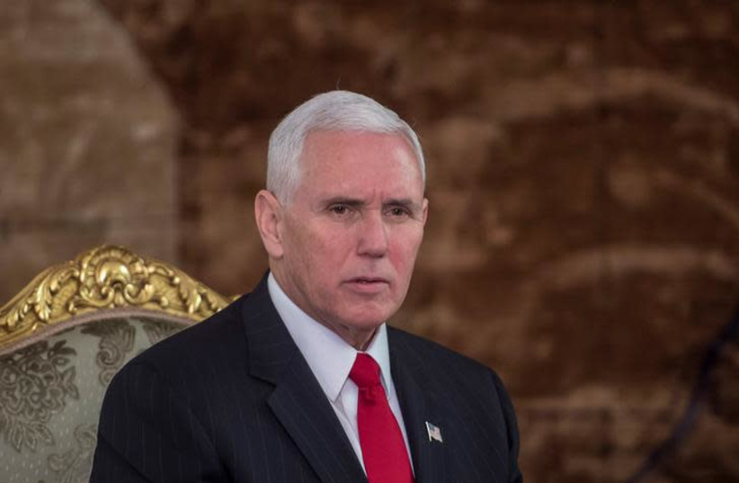 US Vice President Mike Pence at the Presidential Palace in Cairo, Egypt, January 20, 2018 (Reuters/Khaled Desouki/Pool) (photo credit: REUTERS/KHALED DESOUKI)