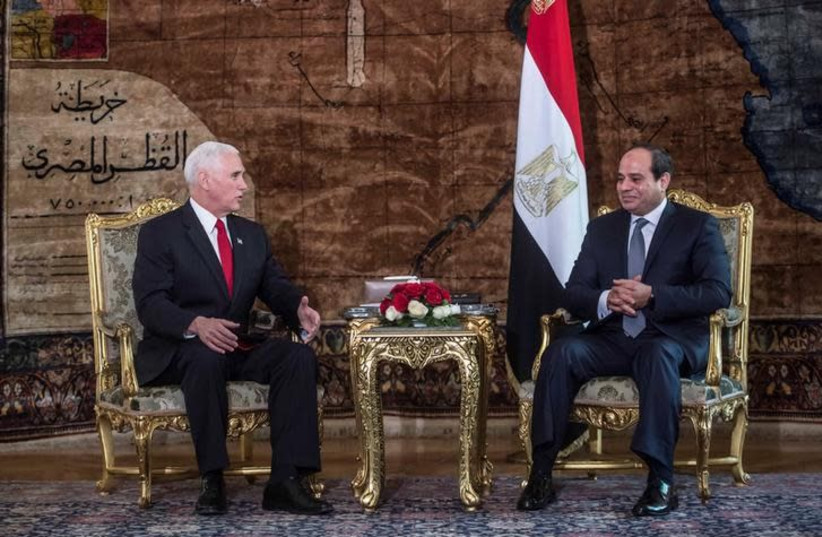 Egyptian President Abdel Fattah al-Sisi meets with with US Vice President Mike Pence at the Presidential Palace in Cairo, Egypt January 20, 2018 (photo credit: REUTERS/KHALED DESOUKI/POOL)