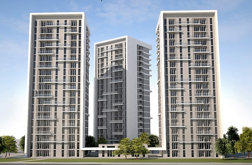 A rendering of the three residential buildings dedicated to public housing whose construction was launched in January 2018. (The Jewish Agency for Israel.) (photo credit: THE JEWISH AGENCY FOR ISRAEL)