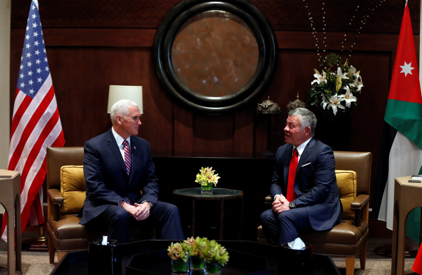 Jordan's King Abdullah speaks during his meeting with US Vice President Mike Pence at the Royal Palace in Amman, Jordan (photo credit: MUHAMMAD HAMED / REUTERS)