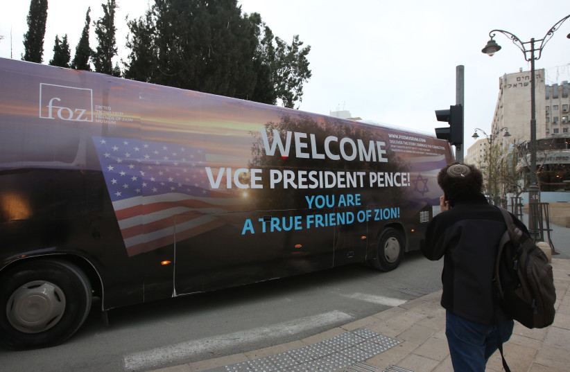 Friends of Zion welcome US Vice President Mike Pence (photo credit: MARC ISRAEL SELLEM/THE JERUSALEM POST)