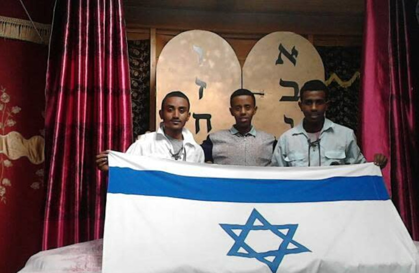 Sintayehu (right) with two other finalists from his community (photo credit: THE STRUGGLE FOR ETHIOPIAN ALIYAH)