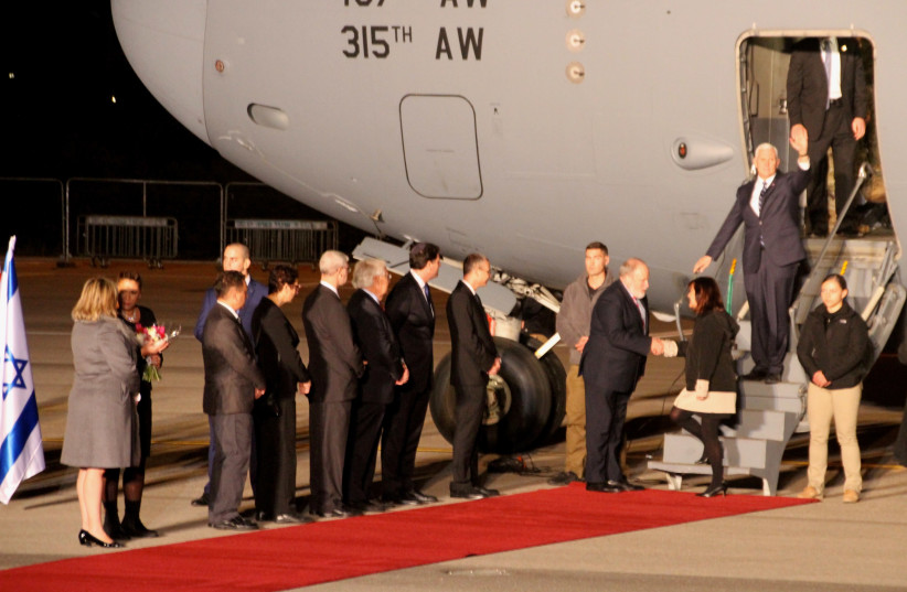 US Vice President Mike Pence lands in Israel  (photo credit: TOVAH LAZAROFF)