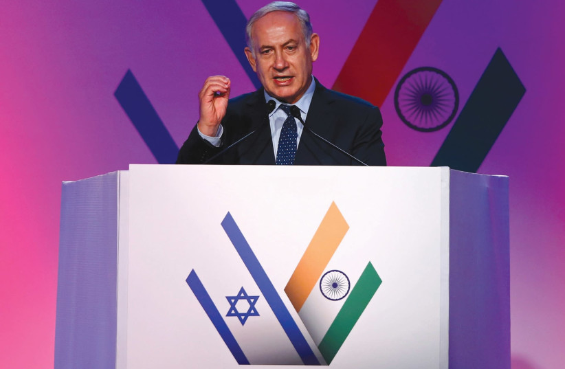 PRIME MINISTER Benjamin Netanyahu speaks at an event during his recent trip to India. (photo credit: REUTERS)