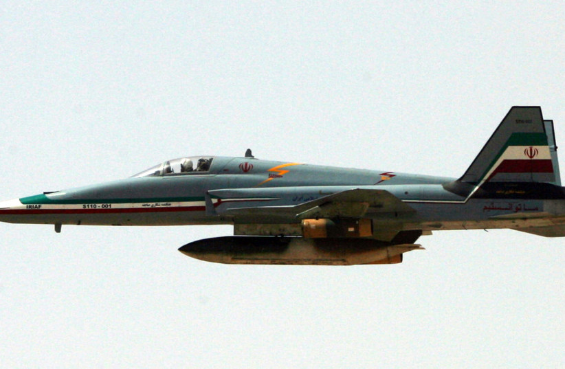 An Iranian Saeqeh jet flies during a war-game in the northwest of Iran. (photo credit: REUTERS)