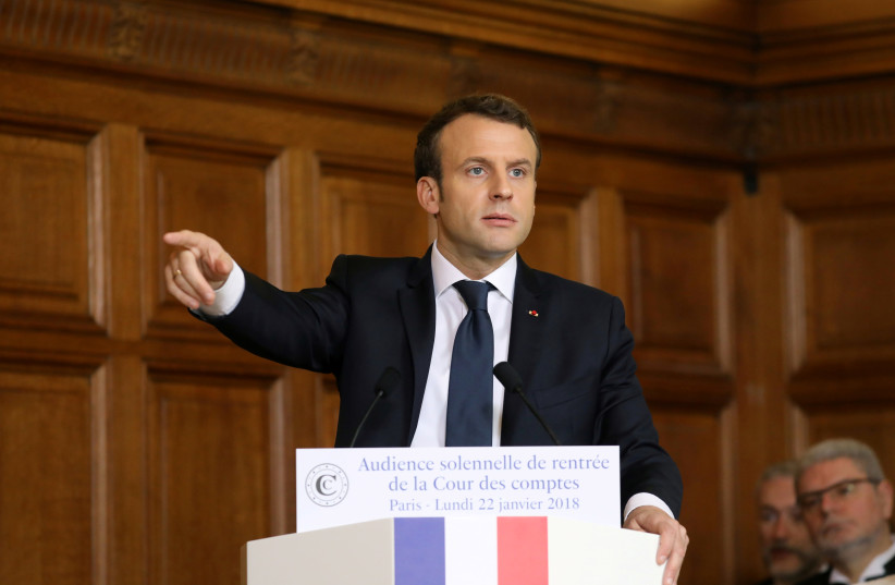 French President Emmanuel Macron delivers a speech during the Court of Auditors solemn hearing to mark the beginning of the year in Paris, France. (photo credit: REUTERS)