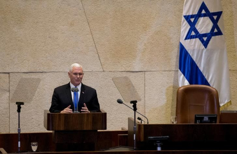 US Vice President Mike Pence addresses the Knesset, Israeli Parliament, in Jerusalem January 22, 2018 (photo credit: REUTERS/ARIEL SCHALIT/POOL)