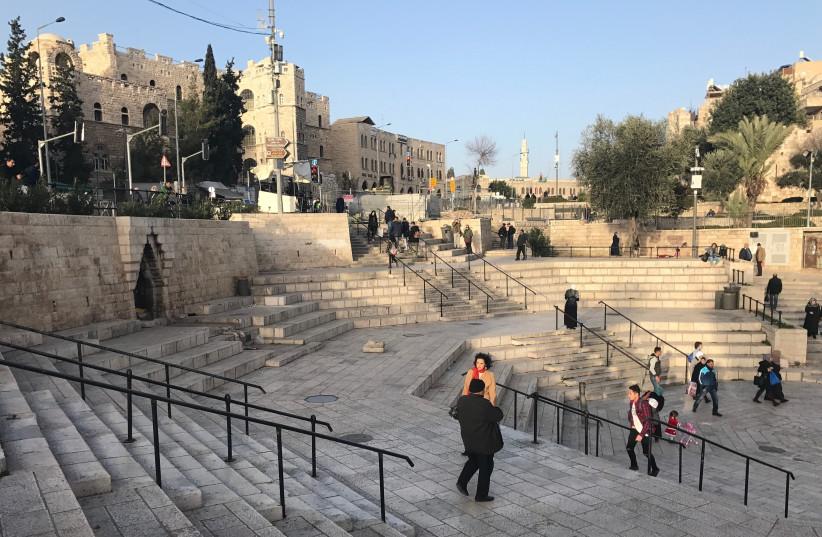Damascus Gate plaza on January 22, 2018 (photo credit: UDI SHAHAM)