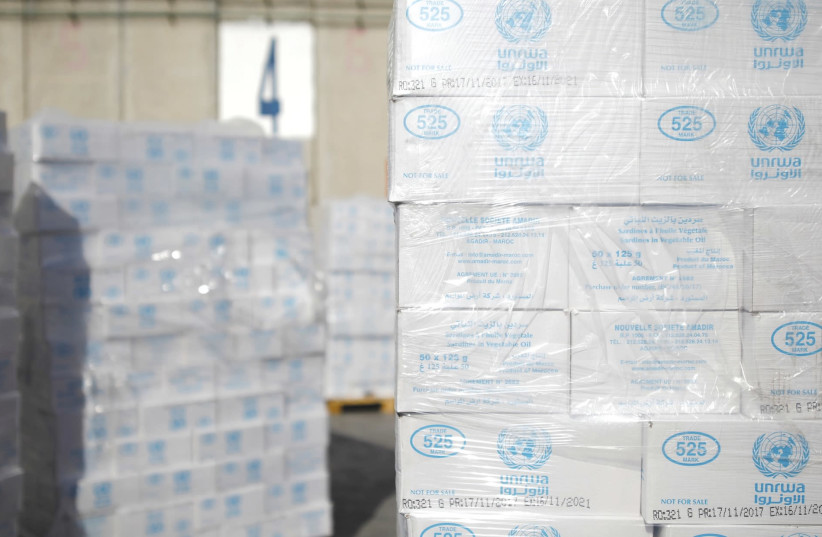 Boxes from UNRWA await transfer to Gaza from Israel. (photo credit: REUTERS)