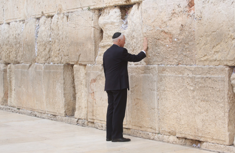 US Vice President Mike Pence prays at the Western Wall (photo credit: MARC ISRAEL SELLEM/THE JERUSALEM POST)