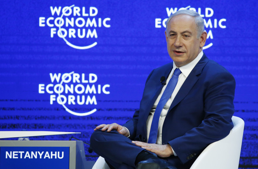 Benjamin Netanyahu, Prime Minister of Israel attends a session during the Annual Meeting 2016 of the World Economic Forum (WEF) in Davos, Switzerland. (photo credit: REUTERS)