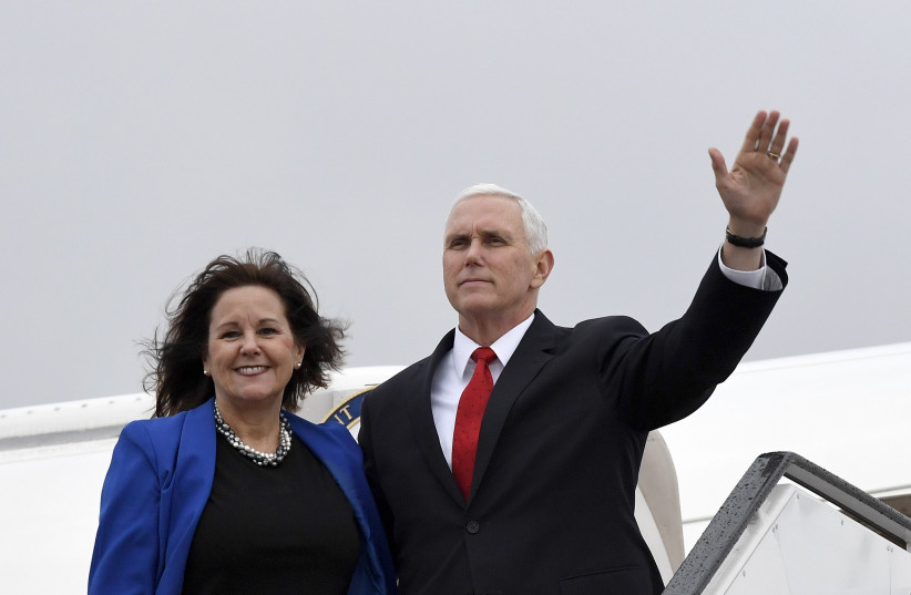 Vice President of the United States Mike Pence departing from Israel's Ben Gurion Airport, January 23, 2018. (photo credit: MATTY STERN, US EMBASSY TEL AVIV)