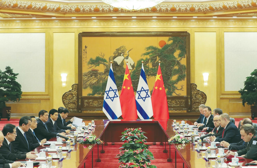CHINESE PREMIER Li Keqiang meets with Israel Prime Minister Benjamin Netanyahu at the Great Hall of the People last March. (photo credit: REUTERS)
